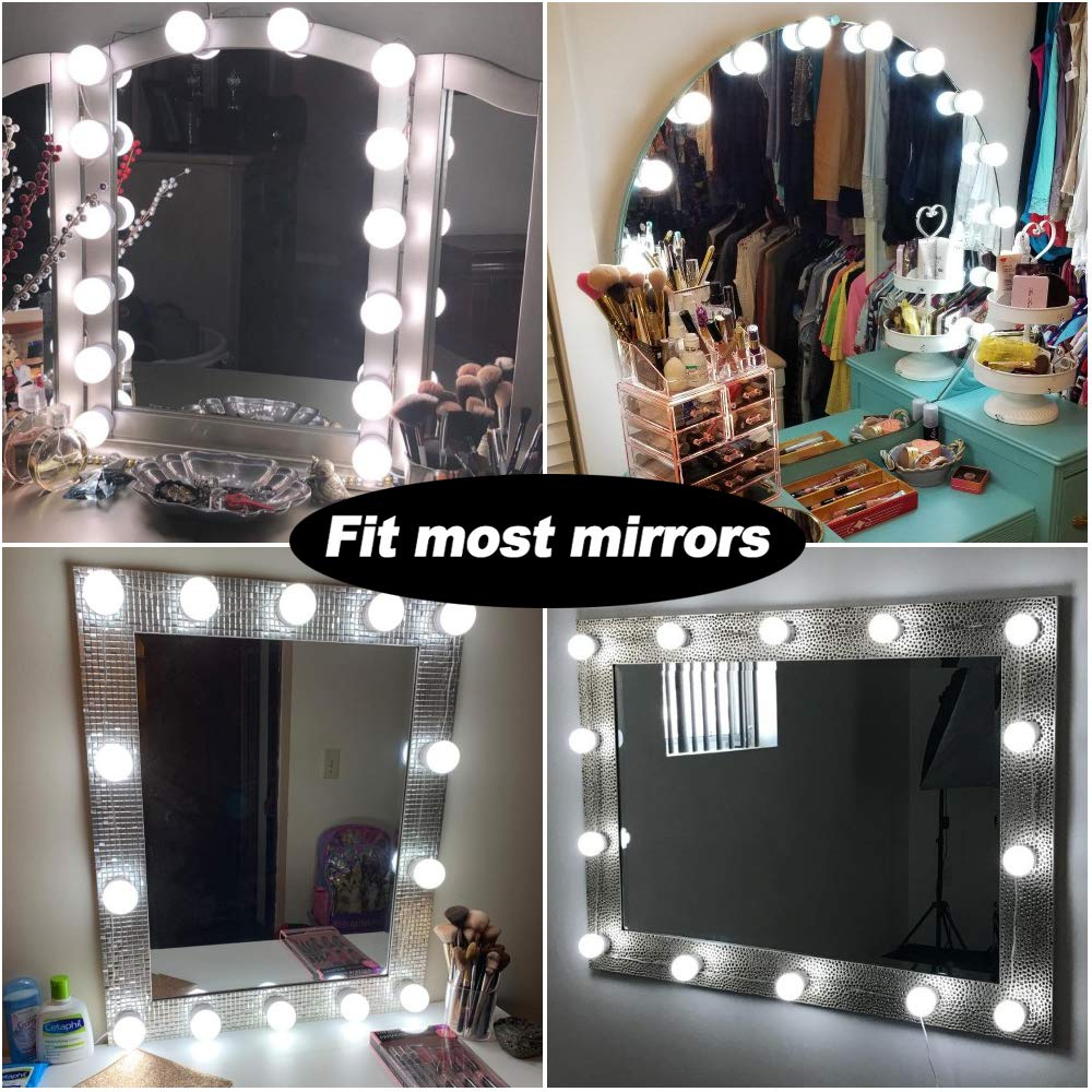 Hollywood Style LED Vanity Makeup Mirror Lights Kit White with 14 Dimmable Bulbs,Lighting Fixture Strip for Makeup Vanity Table Set in Dressing Room(Mirror Not Included) by 321 Lights (Image #4)