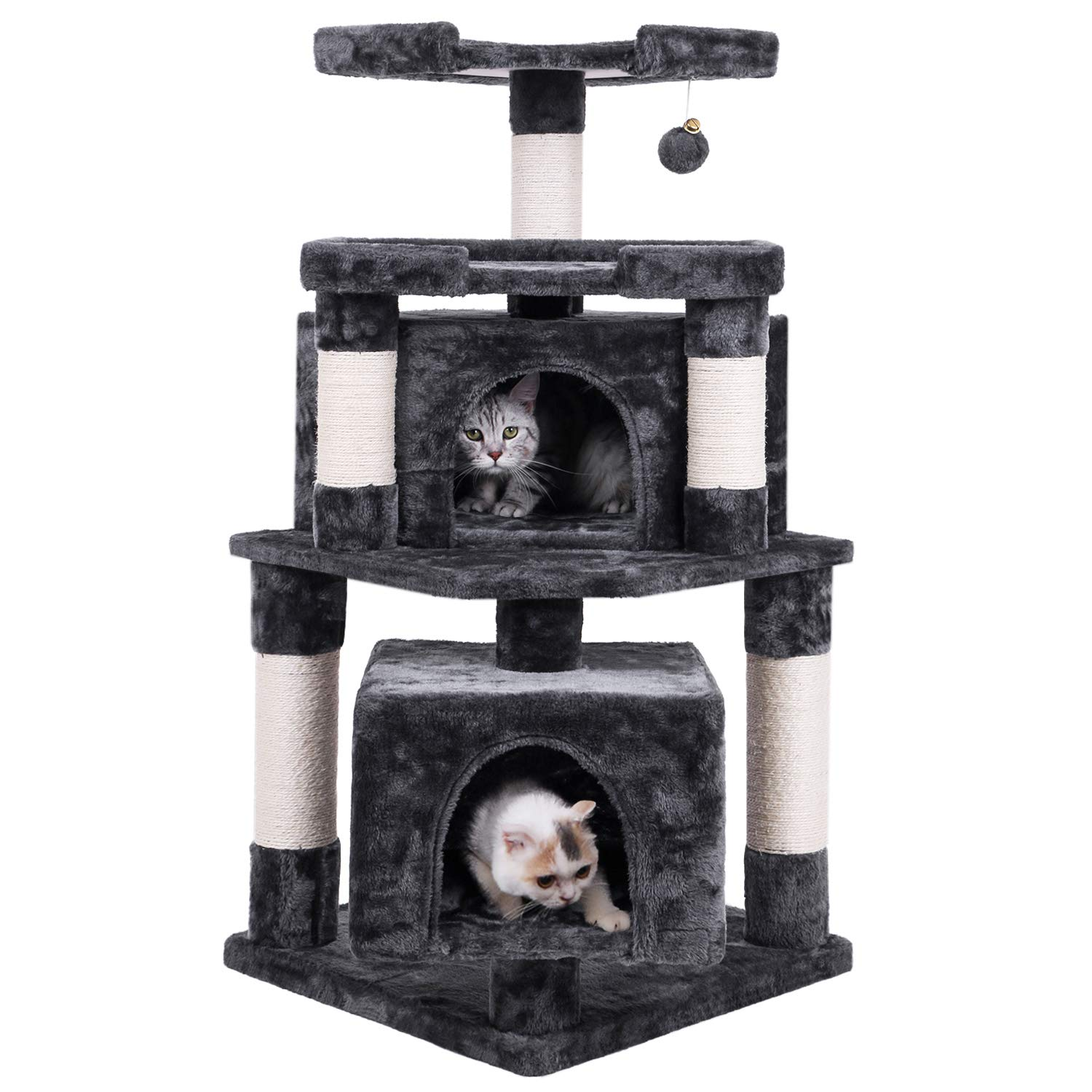 BEWISHOME Cat Tree Condo with Sisal Scratching Posts Perches Houses, Cat Tower Kitty Activity Center Kitten Play House Furniture Grey MMJ04B