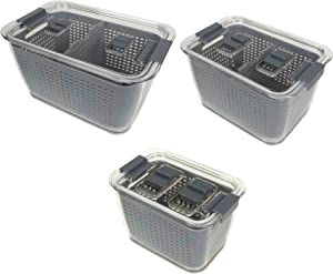 Kitchen Spaces Gray Colander Bin Variety Pack, Fridge Organizer, Easy to Clean Produce, Produce Storage, Keep Vegetables Fresh, Three Sizes (2494A6-AMZ)