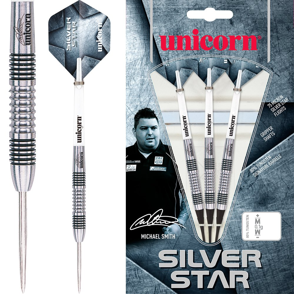 Bully Boy 24g With Darts Corner Curvy Ballpen Michael Smith Unicorn Silver Star Darts