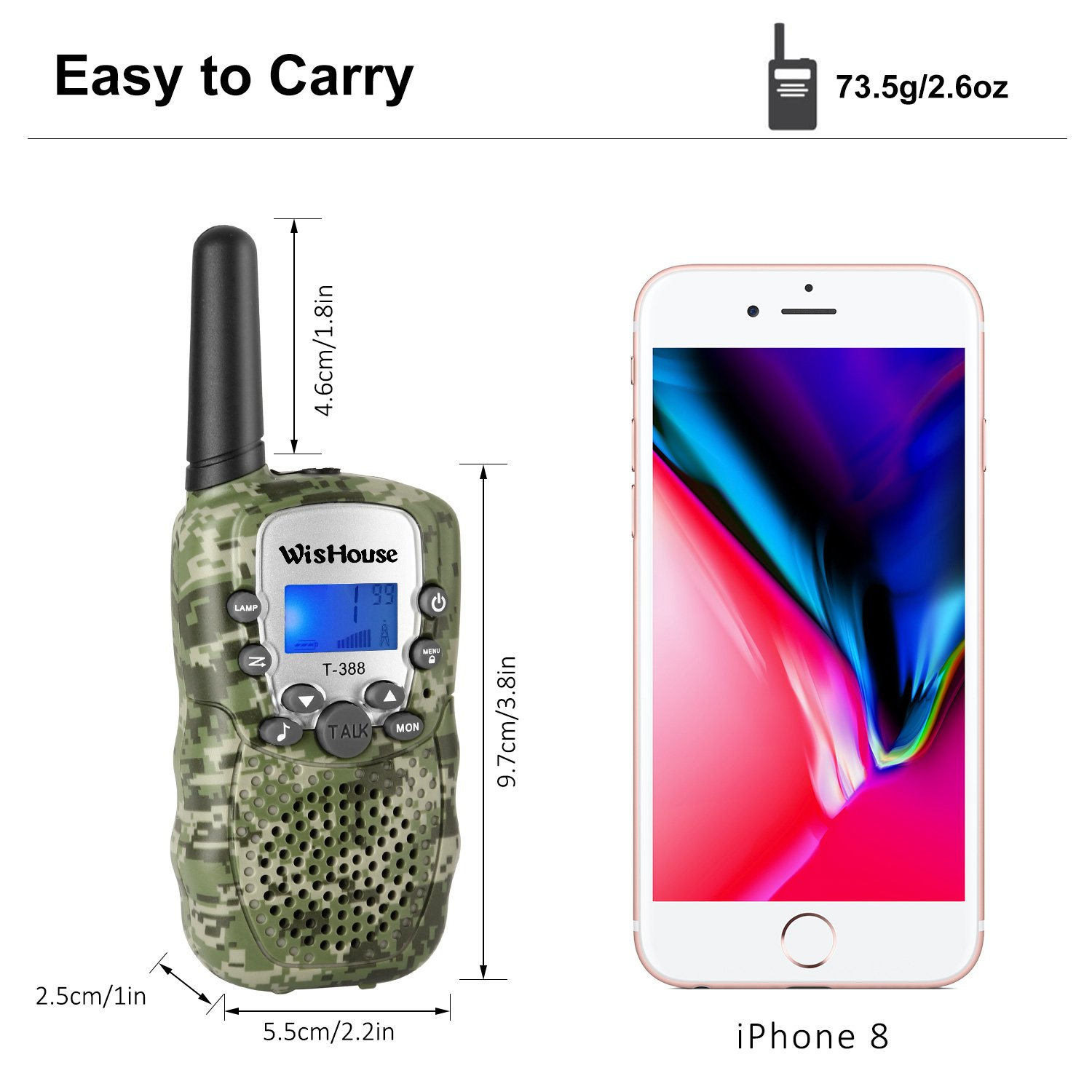 Wishouse Walkie Talkies for Kids,Popular Toys for Boys and Girls Best Handheld Woki Toki with Flashlight,License free Kids Survival Gear for Hunting and Outdoor Adventure(T388 Camouflage 2 Pack) by Wishouse (Image #6)