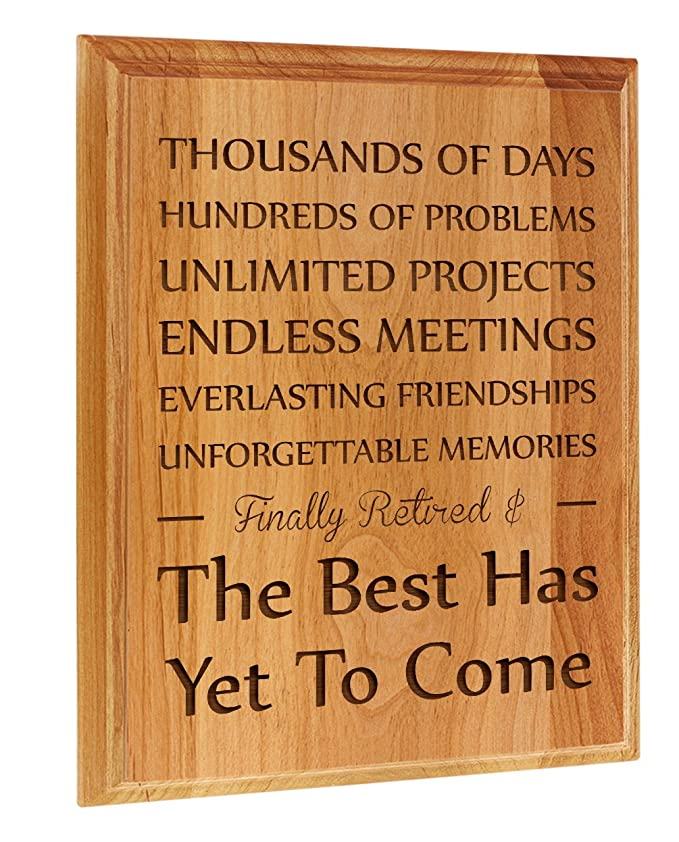 Amazon Retirement Gifts For Women Or Men Finally Retired Best Has Yet To Come Gift Ideas Coworker 7x9 Oak Wood Engraved