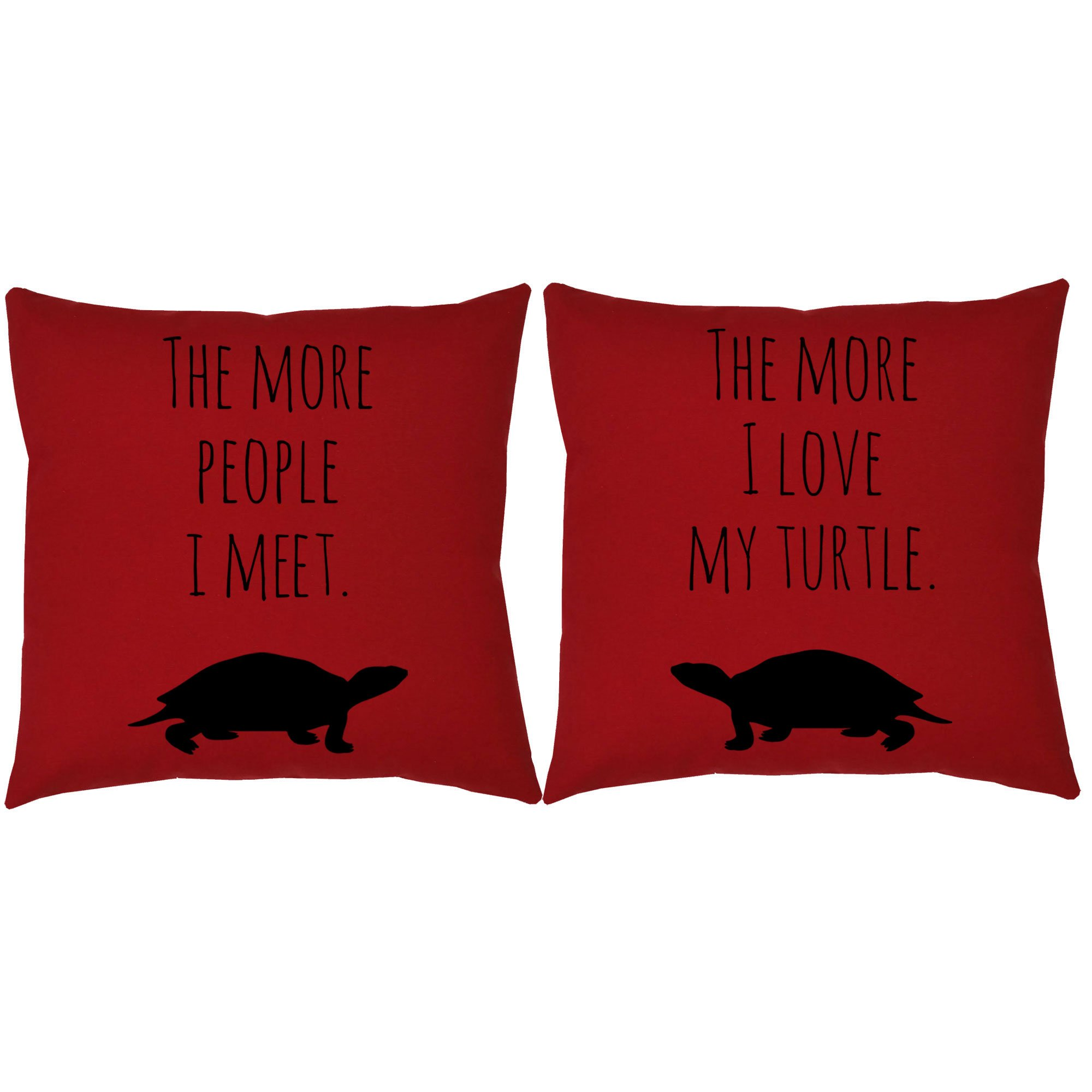 Set of 2 RoomCraft I Love My Turtle Throw Pillows 20x20 Square Red Cotton Cushions