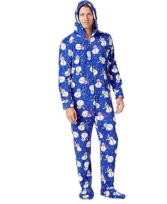 Family PJ's Mens One Piece Hooded Fleece Pajamas w/Feet (X-Large, Blue Snowman)