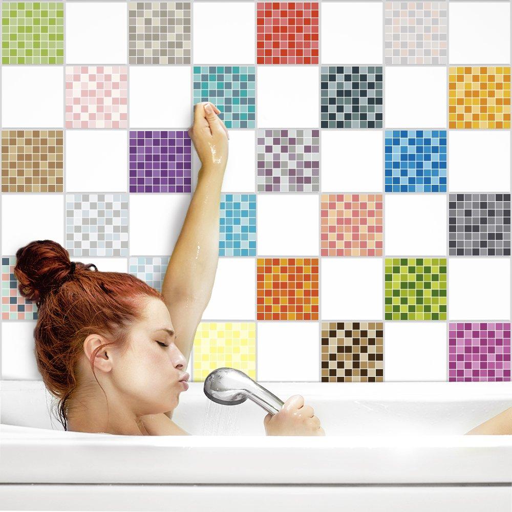 PrintYourHome Fliesenaufkleber für für für Küche und Bad   Mosaik Sinfonie glänzend   Fliesenfolie für 20x25cm Fliesen   42 Stück   Klebefliesen günstig in 1A Qualität B072J4D424 Fliesenaufkleber bf771d