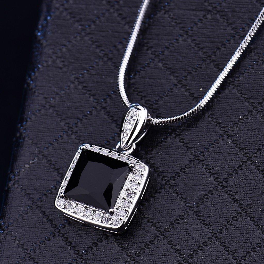 UltraSunday Square Black Crystal Onyx Silver Gold Filled Dangle Pendant Women Lady Necklace