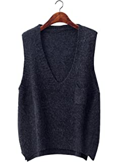 Gordon Q Womens Casual Deep V-Neck Knit Cotton Long Vest