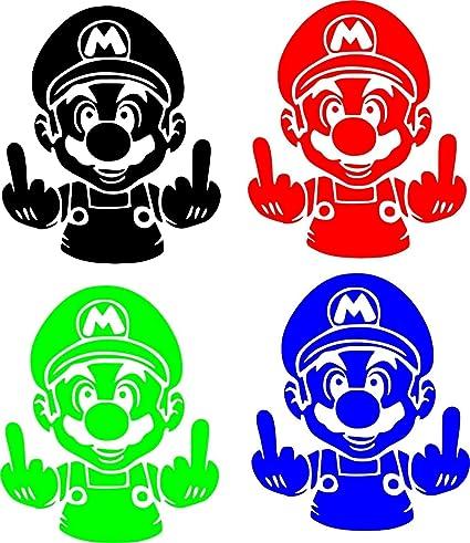 "Mario Middle Finger Game Movie TV Vinyl Sticker Decal Car Window Bumper Wall 10/"""