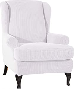 SINKITA Wing Chair Covers,Super Soft Wingback Chair Slipcover Furniture Protector Anti-Slip Thicken Armchair Chair Anti Scratch Pets Kids Children Dog Cat-White