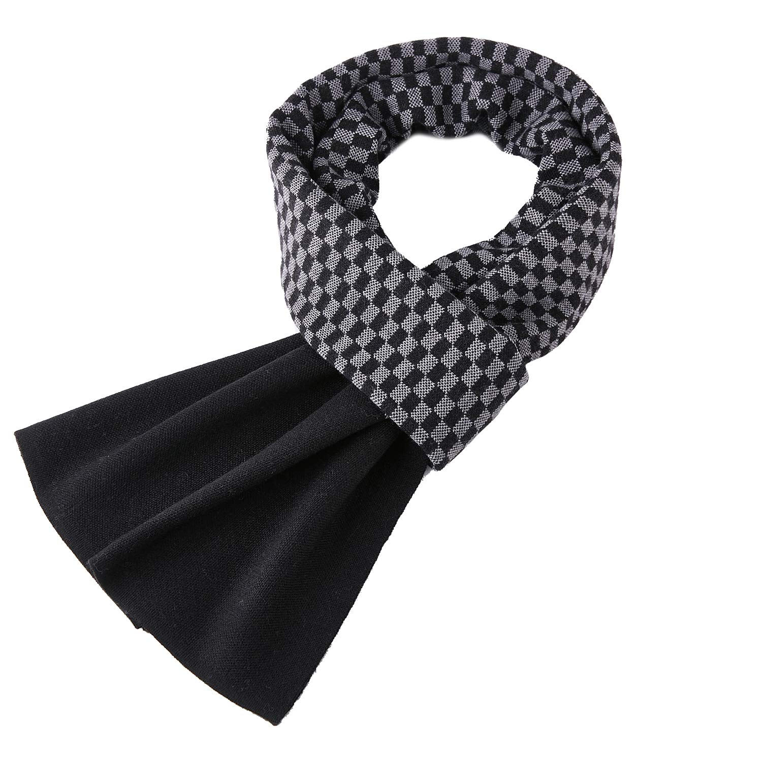 Taylormia Men's Winter Fashion Cashmere Knit Scarf Warm Soft Mixed-color Long Scarves Black Grey by Taylormia (Image #1)