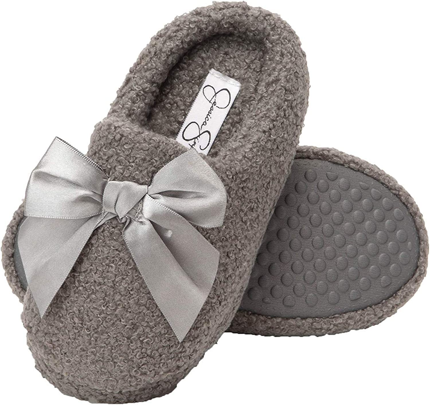 Jessica Simpson Girls Slip-On Clogs Fuzzy Comfy Warm Memory Foam Sherpa Slippers with Satin Bow
