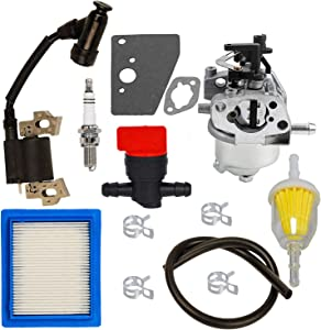 HIFROM 14 083 15-S Air Filter 14 853 68-S Carburetor 14 584 04-S Ignition Coil Fuel Filter Spark Plug Tune Up kit Compatible with Kohler XT650 XT675 6.5 6.75 Hp Engine Lawn Mower