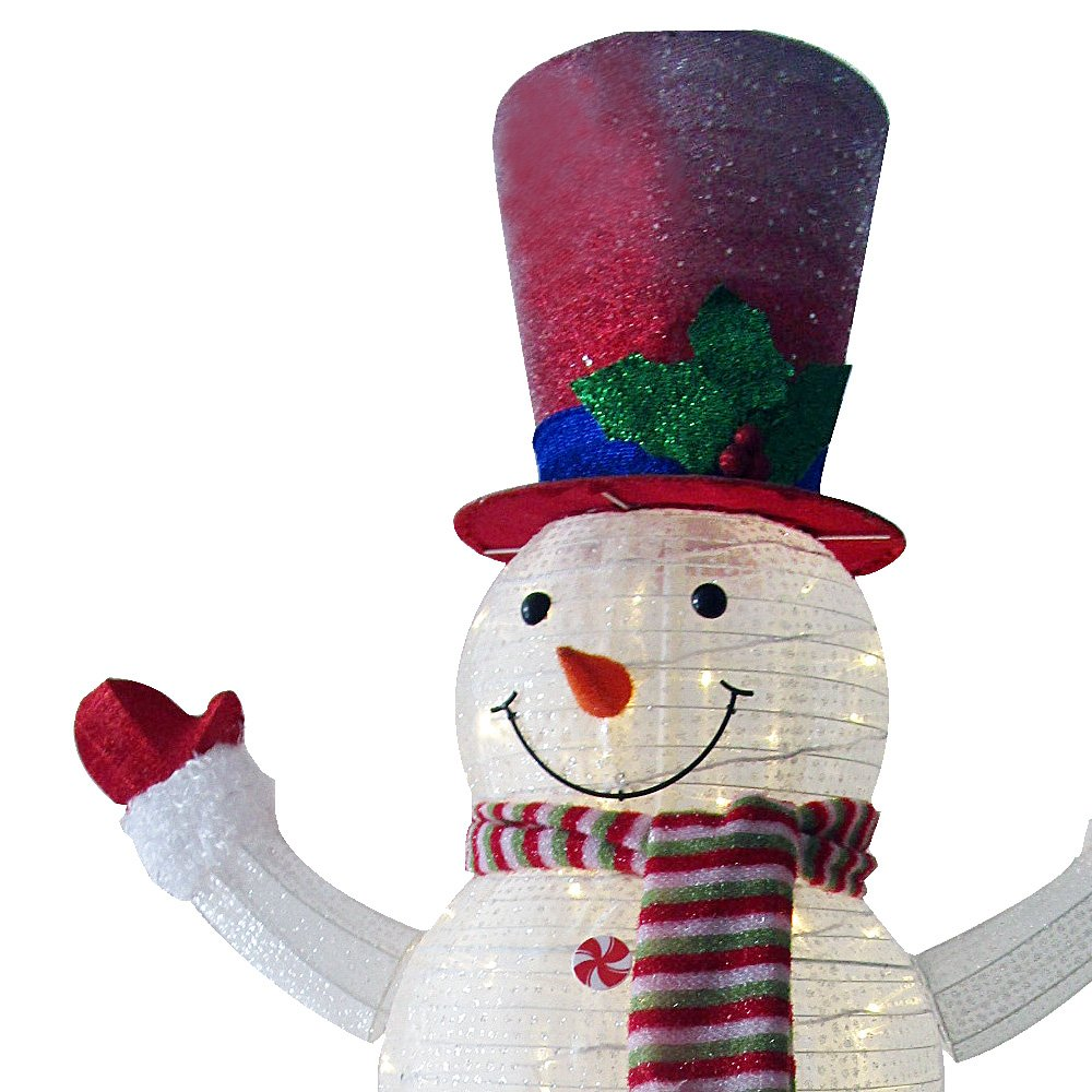 60'' LED Popup Snowman Outdoor Collapsible Lighted Snowman Christmas Yard Decorations with 120 Lights by Jingle light (Image #4)