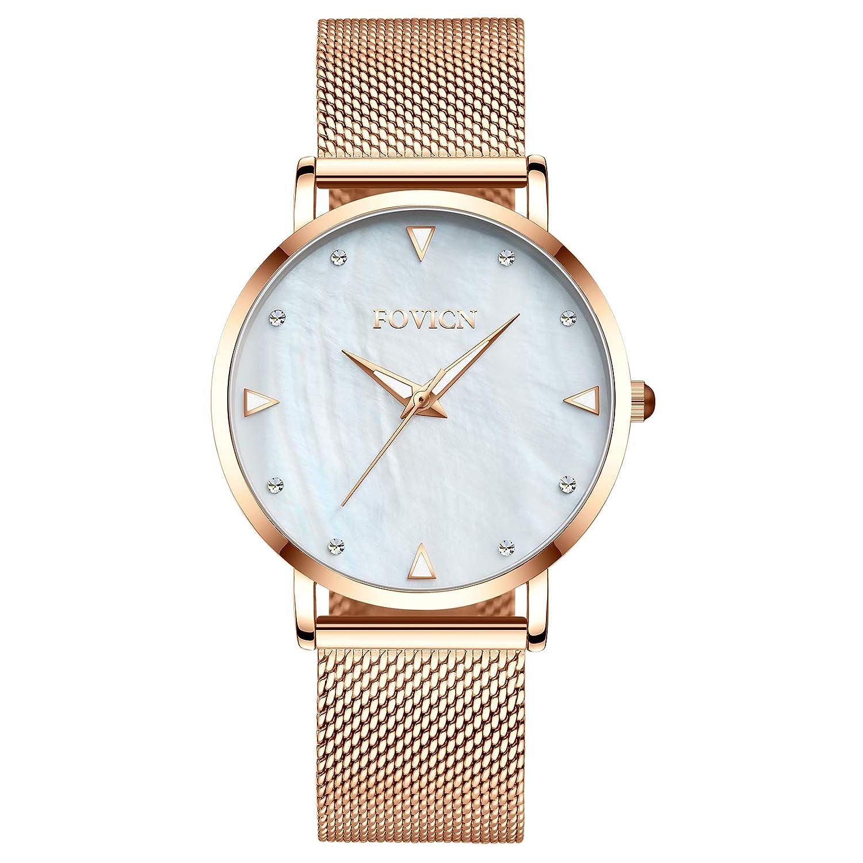 Relojes Analógico Acero Reloj Moda Inoxidable Casual Para Rosa Cuarzo Mujer De Oro Malla H9W2EDI