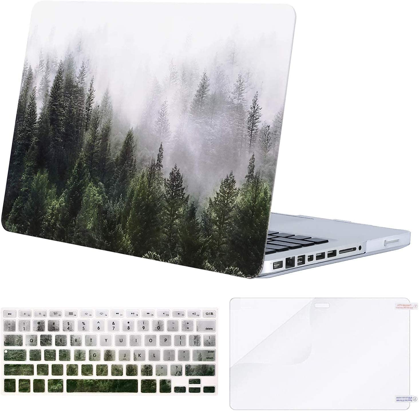 MOSISO Compatible with MacBook Pro 13 inch Case with CD-ROM (Model: A1278, Old Version Release 2012-2008), Plastic Pattern Hard Shell Case & Keyboard Cover & Screen Protector, Green Forest
