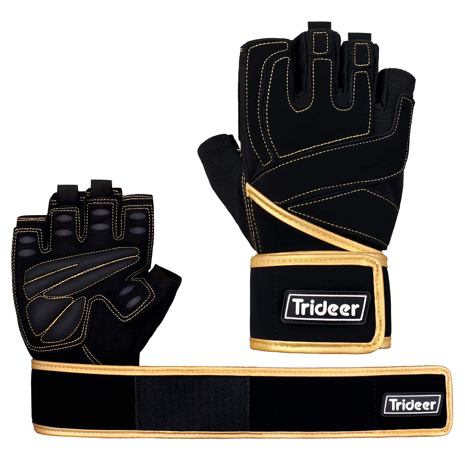 Trideer Padded Weight Lifting Gloves, Gym Gloves, Workout Gloves, Rowing Gloves, Exercise Gloves for Weight Lifting, Fitness, Cross Training for Men & Women by Trideer