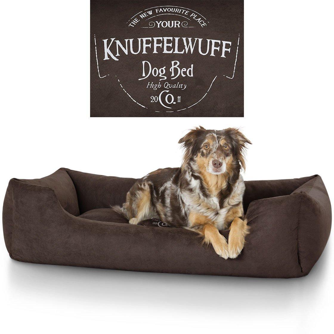 Knuffelwuff panier chien, lit pour chien, coussin, corbeille pour chien Liam, imprimé, marron XXL 120 x 85cm 13968-007