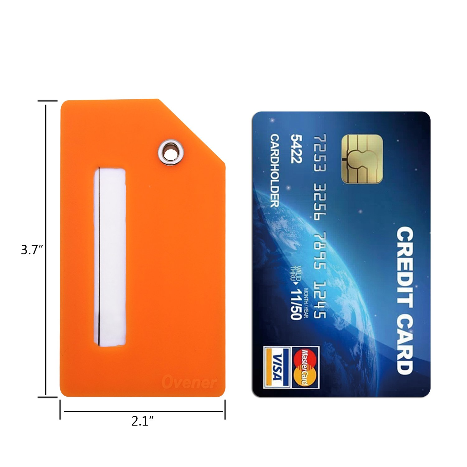 Silicone Luggage Tag With Name ID Card Perfect to Quickly Spot Luggage Suitcase (Plane 2Pcs Orange) by Ovener (Image #3)