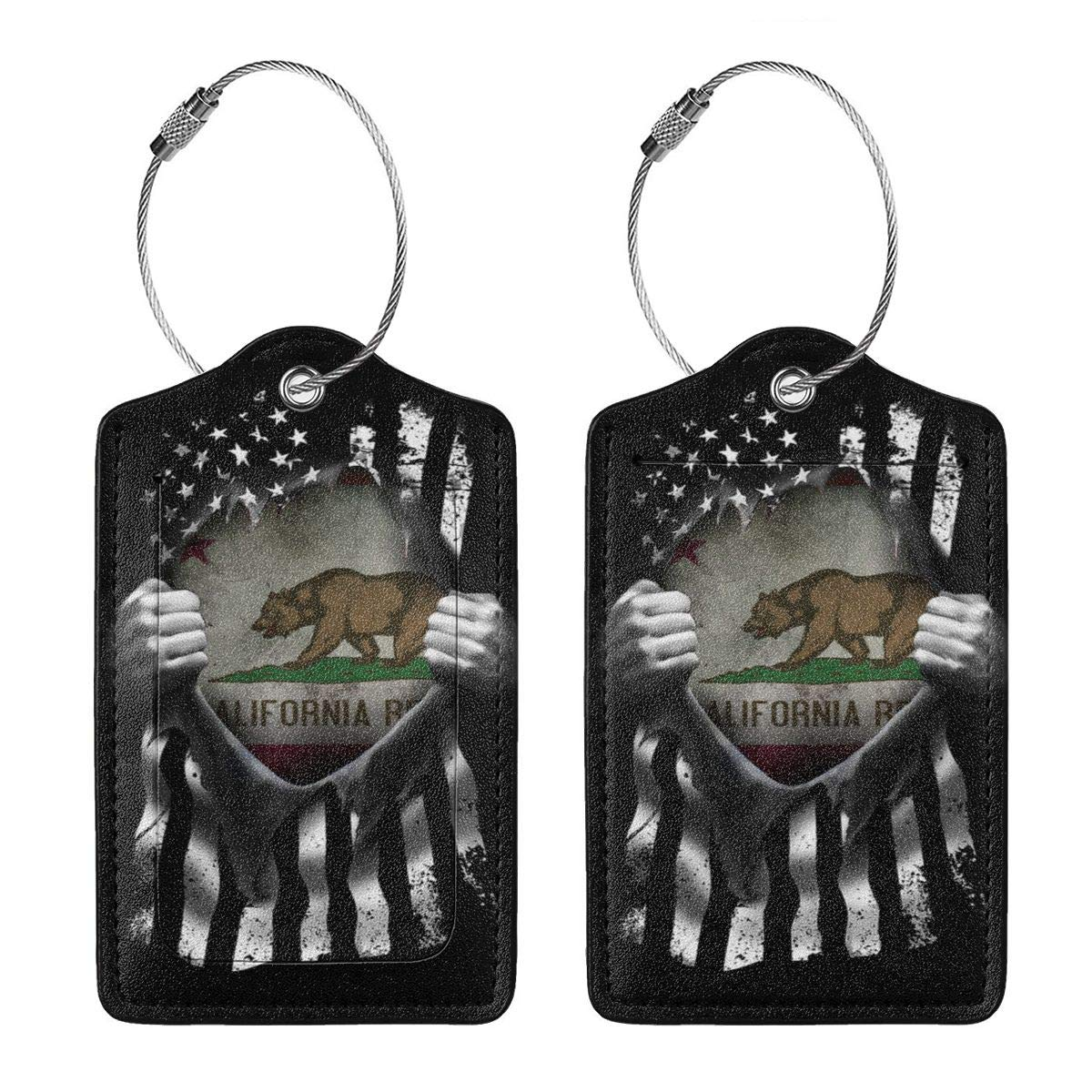 Leather Luggage Tag California Historic Bear Flag Pull Apart Luggage Tags For Suitcase Travel Lover Gifts For Men Women 2 PCS