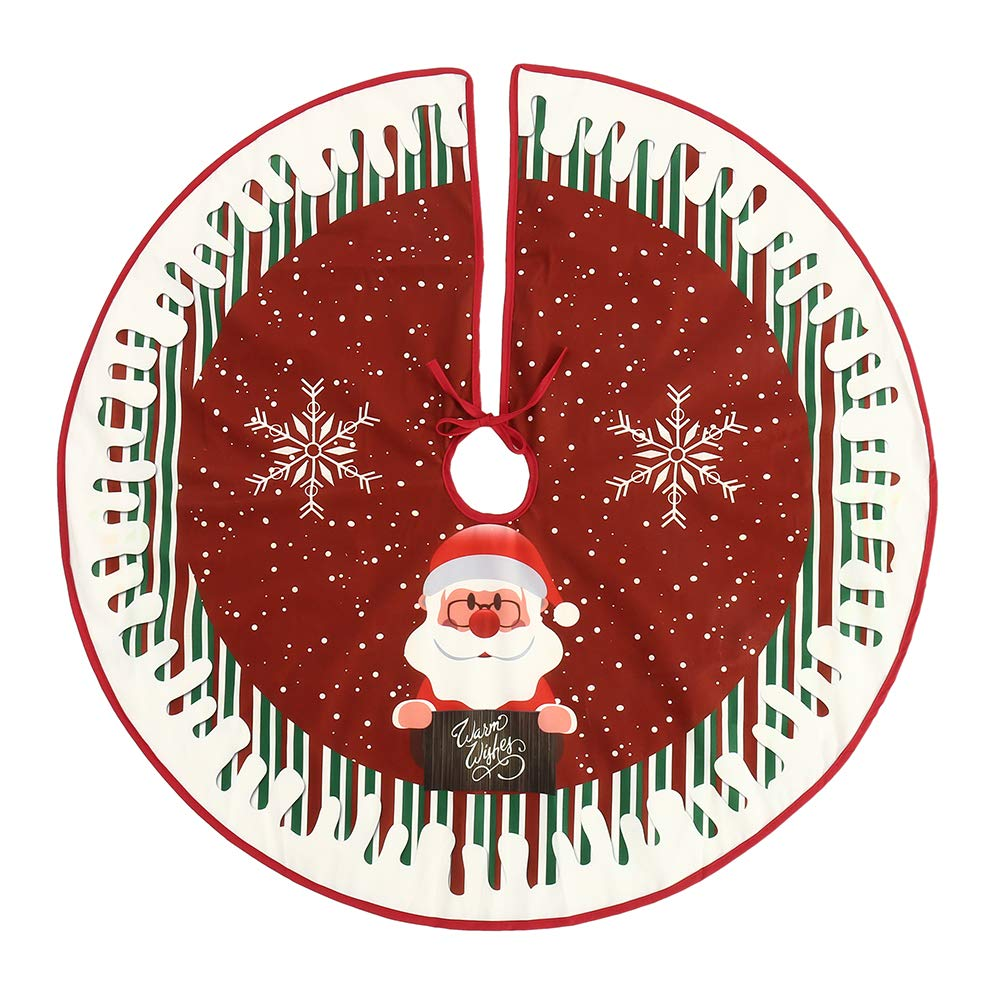 Christmas Tree Skirts with Santa 90cm Fabric Red Tree Skirts Base Floor Mat Cover Xmas Decorations willkey