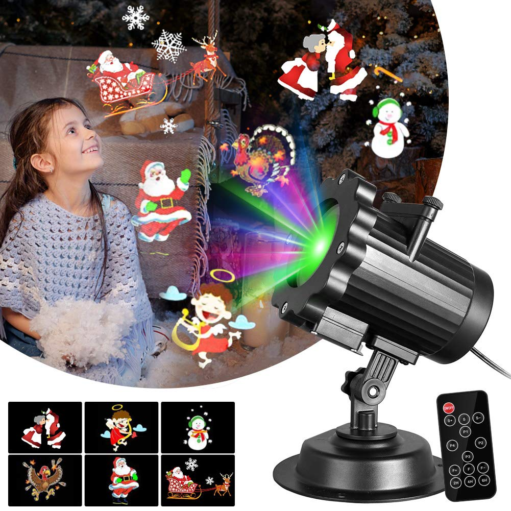 Gsha Christmas Projector Lights, LED Lights Projector 6 Slides Landscape Motion Projector Lights with Remote Control, 16.4ft Power Cable for Indoor and Outdoor Holiday Decoration-Ship from US by Gsha (Image #1)