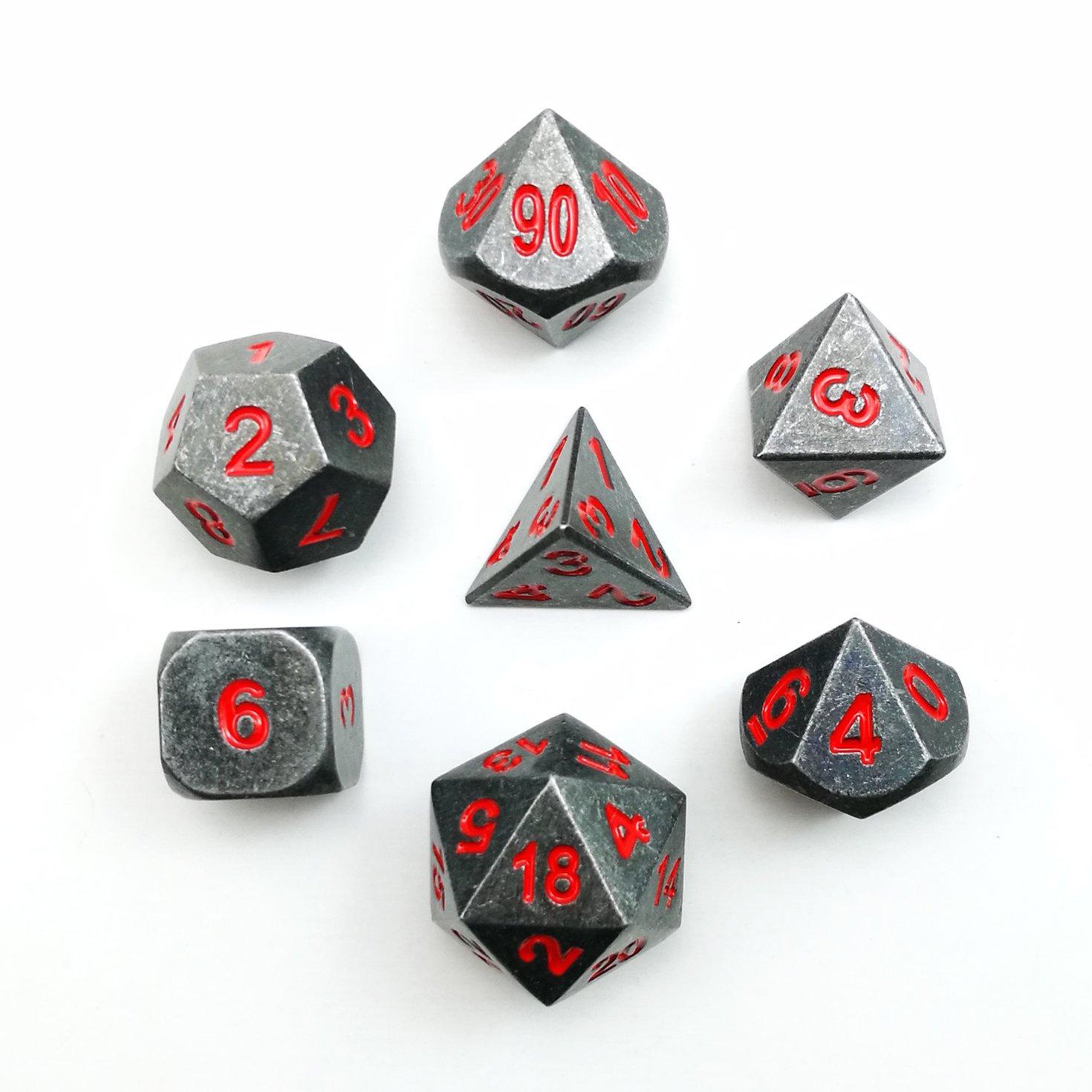 Metallic 7pcs Dungeons and Dragons Dice Set, Metal RPG Game Dice with Red Number, Metallic 7pcs Polyhedral Dice Set