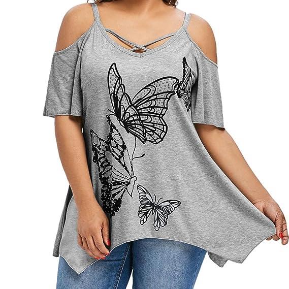CICIYONER Verano de Manga Hombro, Camiseta con Estampado de Mariposa Blusa con Manga Corta: Amazon.es: Ropa y accesorios