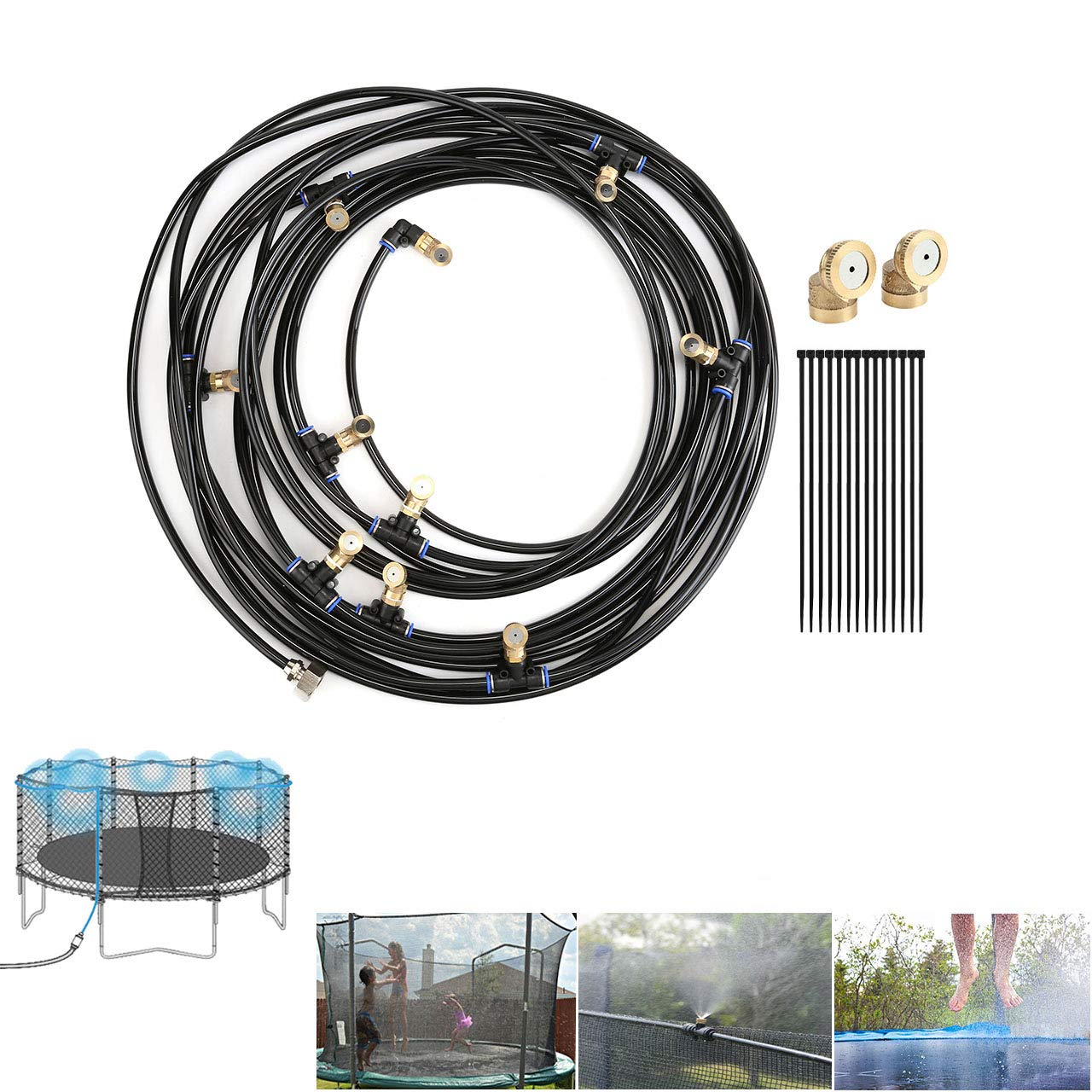 """CozyCabin Trampoline Misting Cooling System 49.2FT (15M) Misting Line (with G3/4"""" Connector) + 12 Brass Mist Nozzles, Pre-Assembled Garden Patio Mister Great for Summer Children Waterpark"""