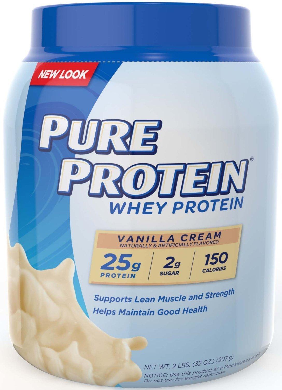 Pure Protein 100 % Whey Protein, Vanilla Cream, 1.6 Pound Tub by Pure Protein