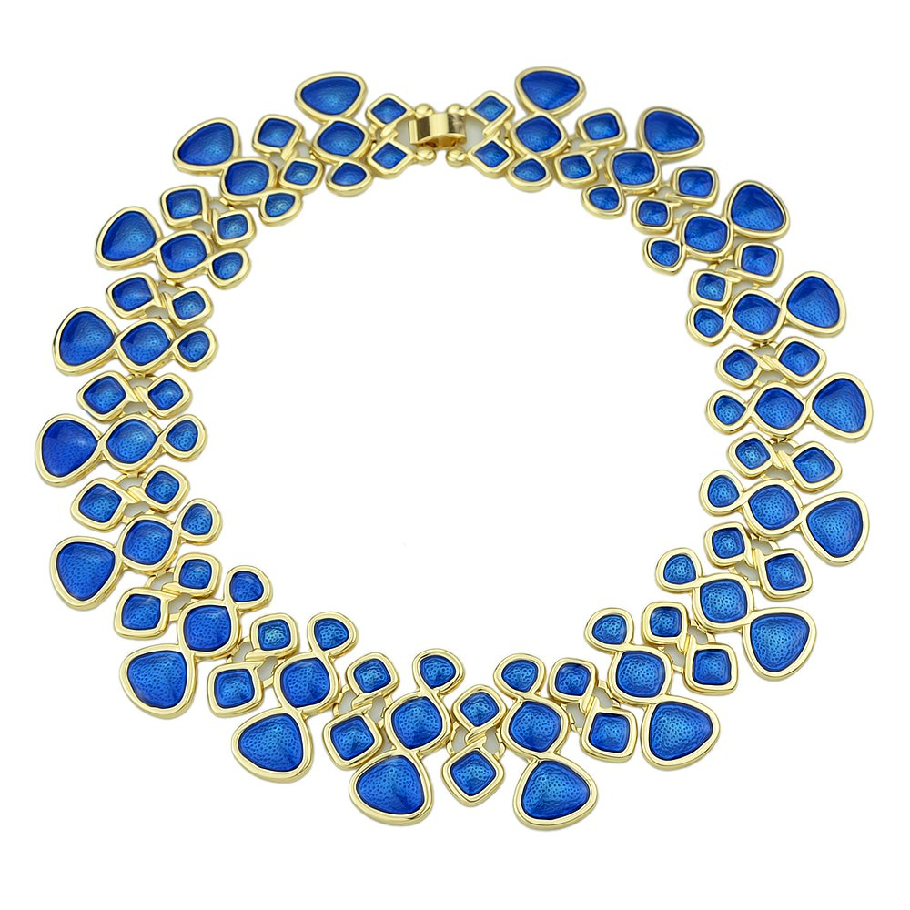 Feelontop® Best Seller Enamel Short Statement Choker Necklace with Jewelry Pouch (Blue) NC-3926-BLue