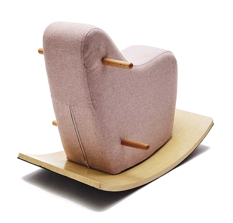 赤ちゃんロッキングホース、おもちゃの柔らかいパッド入りの座席に乗る動物の幼児に乗る18ヶ月から3歳の木  Pink B07TJW6LFY