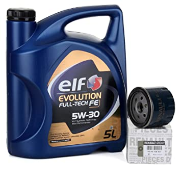 Duo Servicio - Elf Evolution Full Tech 5W-30 5 lts + Filtro aceite Original 8200768927: Amazon.es: Coche y moto