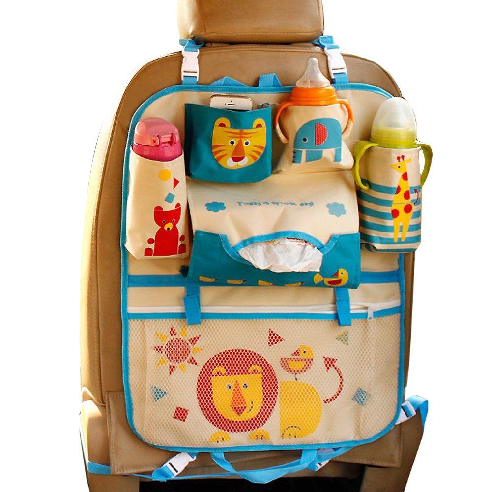 Car Backseat Organizer Kick Mats - Auto Seat Back Protector Kids Toy Storage Lion by WIZCOV