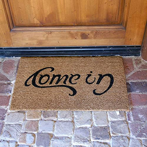 Rubber-Cal Come in Welcome Doormat Coir Doormat, 18 x 30-Inch