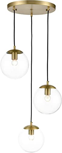 Light Society LS-C255-BB-CL Zeno 3-Light Pendant Lamp in Brushed Brass and Clear Glass Globes with Adjustable Length Cords, Retro Mid Century Modern Style Chandelier