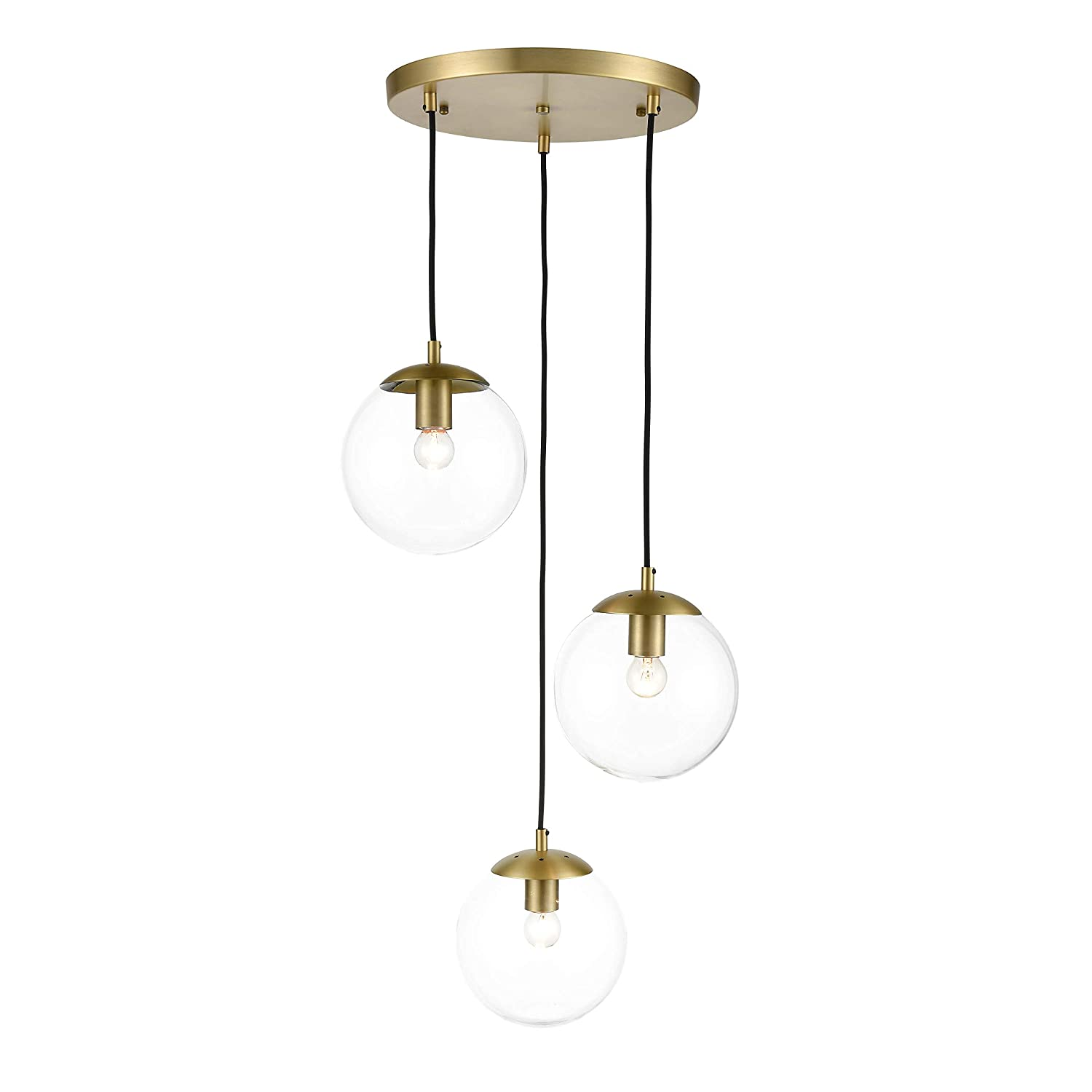 Light society tesler 3 light globe pendant lamp in brushed brass and clear glass globes with adjustable length cords retro mid century modern style