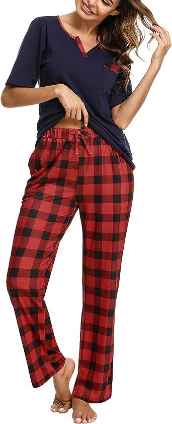 Doaraha Pijama a Cuadros para Mujer Camiseta y Pantalones Pijamas Manga Larga Celosía Ropa de Dormir de Algodón Manga Corta con Bolsillo Cuello de ...