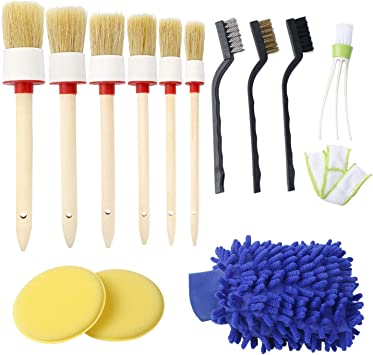 JANYUN Auto Detailing Brush Set for Cleaning Car Motorcycle Automotive Cleaning Wheels Interior Dashboard Air Vents Emblems Leather Exterior
