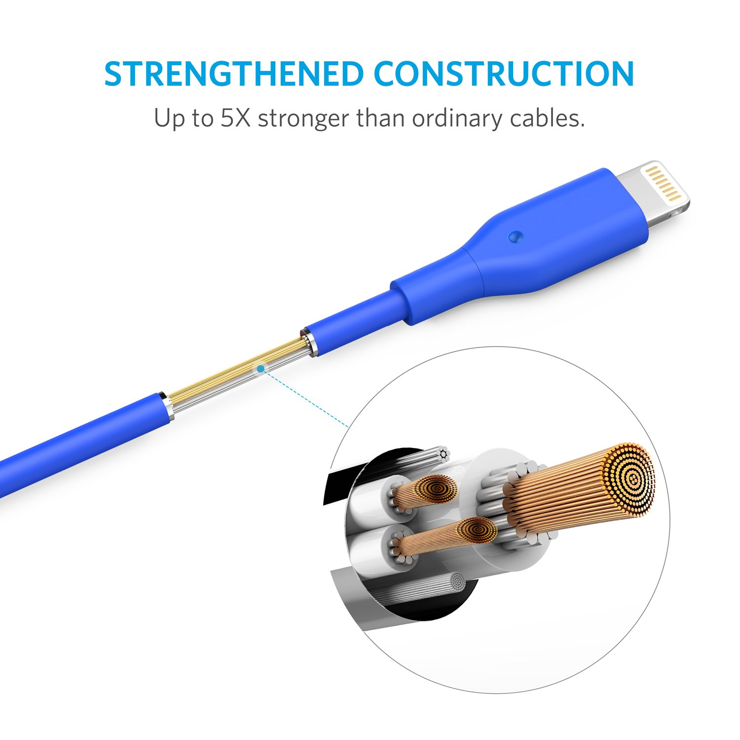 Anker iPhone Charger Anker Powerline 6ft Lightning Cable MFi Certified USB ChargeSync Cord for