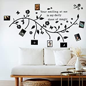 3D Acrylic Family Tree Wall Sticker with Photo Frame Family Tree Wall Decal. Bedroom Stencil Decoration. DIY Photo Gallery Frame Decor Sticker.