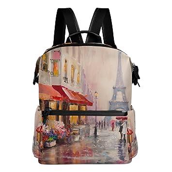 COOSUN Pintura al óleo de la Escuela de París Eiffel Torre Mochila mochila de viaje Multi: Amazon.es: Equipaje