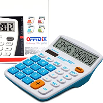OFFIDIX Office Desktop Calculator, Solar and Battery Dual Power Electronic Calculator Portable 12 Digit Large LCD Display Calculator, Calculators Large Display Blue