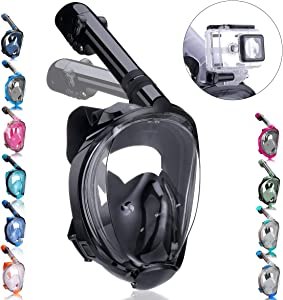 QingSong Full Face Snorkel Mask with Newest Breathing System, Give You A Natural & Safe Snorkeling Experience, Foldable 180 Degree Panoramic View Anti-Fog Anti-Leak Snorkel Set for Kids & Adults