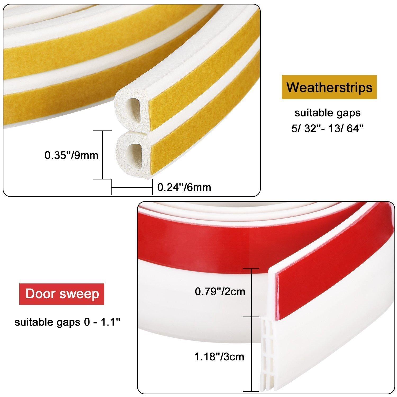 Soundproof Weather Stripping Door Draft Stopper Kit White,33Ft Self Adhesive Windows Weatherstrips /& 39 Energy Efficient Door Under Seal Insect Proof Rubber Door Strips to Seal Door Crack NewSheep