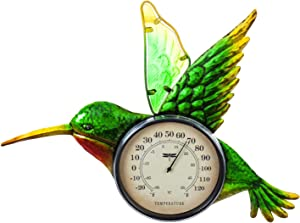 Evergreen Garden Beautiful Summer Hummingbird Outdoor Wall Thermometer - 18 x 1 x 13 Inches Fade and Weather Resistant Outdoor Decoration for Homes, Yards and Gardens