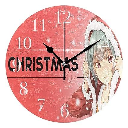 Anime Christmas Wallpaper.Amazon Com Funnycustom Round Wall Clock Anime Christmas