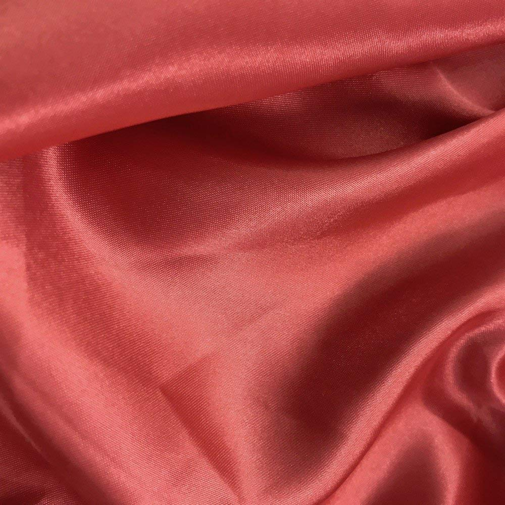 mds Pack of 50 Yard Charmeuse Bridal Solid Satin Fabric for Wedding Dress Fashion Crafts Costumes Decorations Silky Satin 44''- Coral