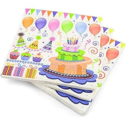 60 servilletas de 3 capas para tarta de cumpleaños Globos Patrón servilletas de papel – 33
