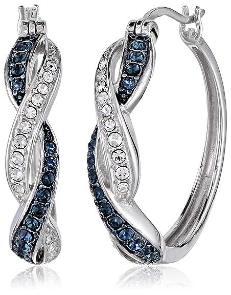 Sterling Silver Montana and White Swarovski Crystal Twisted Hoop Earrings Hoop