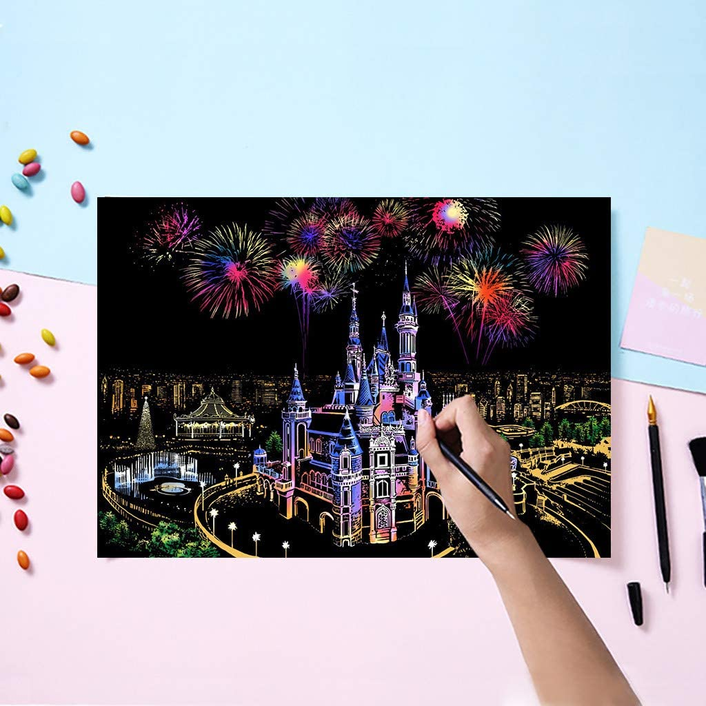 Art Painting Paper w//Drawing Pen Kids Toy for Children Party Favor As shown Shotbow Rainbow Scratch Painting Paper DIY City Night View Scratchboard for Adult and Kids Fantasy Castle